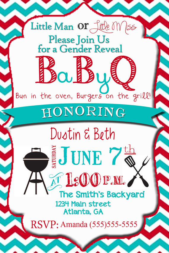 Gender Reveal Party Invitation Baby Reveal BBQ Digital File Little