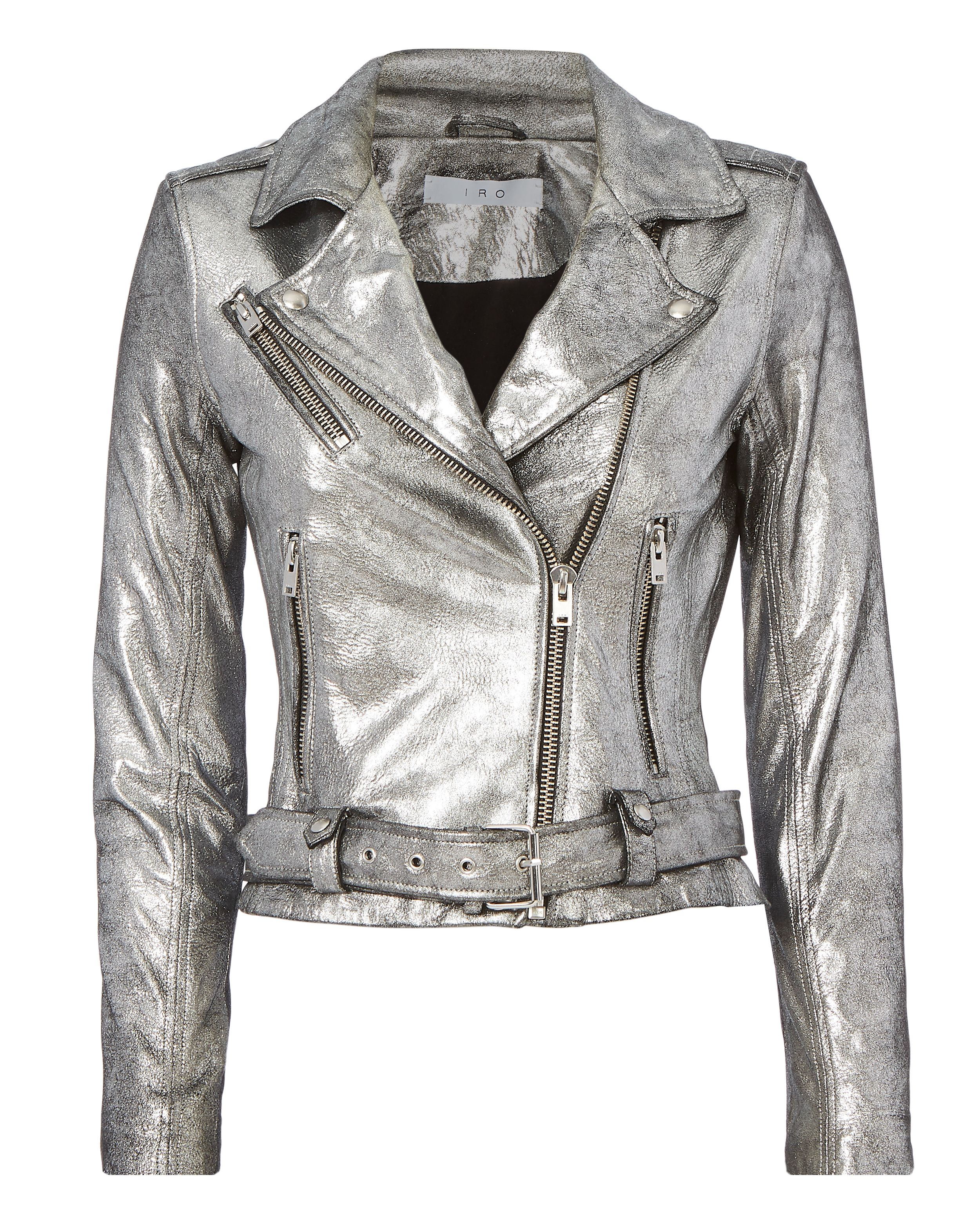 32bf7b0fe66 Iro Brooklyn Silver Leather Moto Jacket - for when you want to shine ...