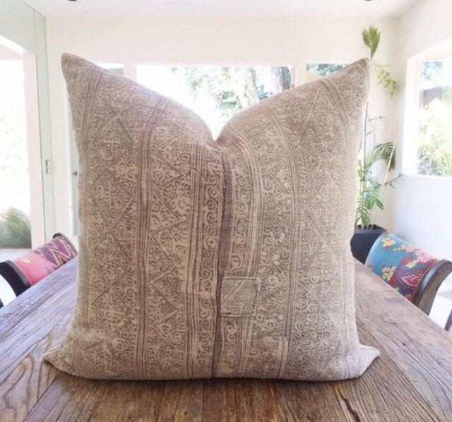 22X22 Pillow Insert Handwoven Vintage Gray Hemp Hmong Batik Textile Pillow Cover 22X22