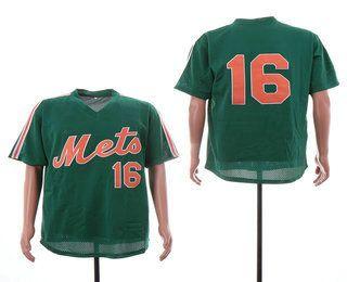 sports shoes c0c02 ac6b4 Men's New York Mets #16 Dwight Gooden Green Mesh Batting ...