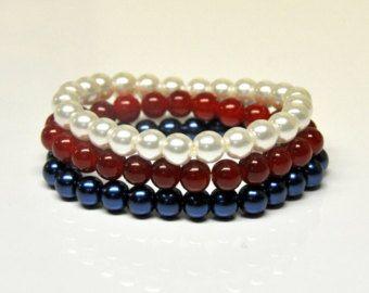 Nautical, Blue Red White, Set of 3 stretch glass pearl bracelets, Statement bracelet, Bridesmaids bracelet, Wedding Party favor Bracelet Set