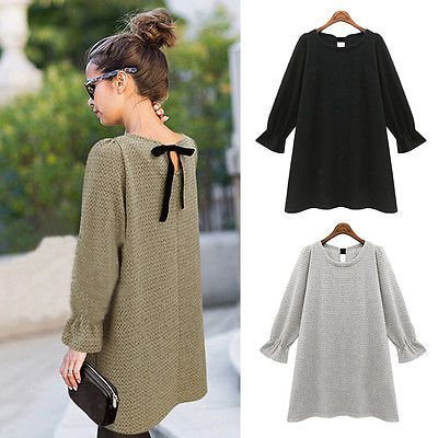 Korean-Womens-Long-Sleeve-Knitted-Sweater-Bowknot-Dress-Casual-Loose-Short-Skirt