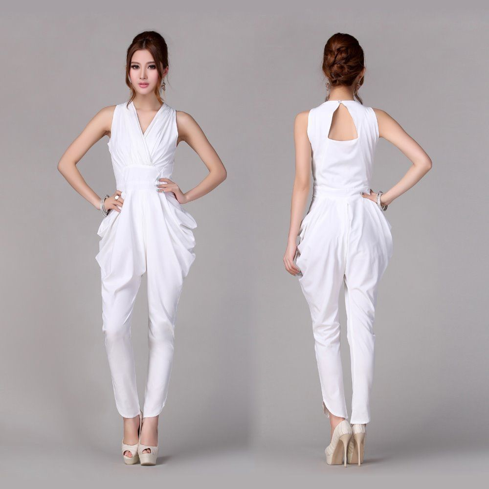 Collection White Pants Romper Pictures - Reikian