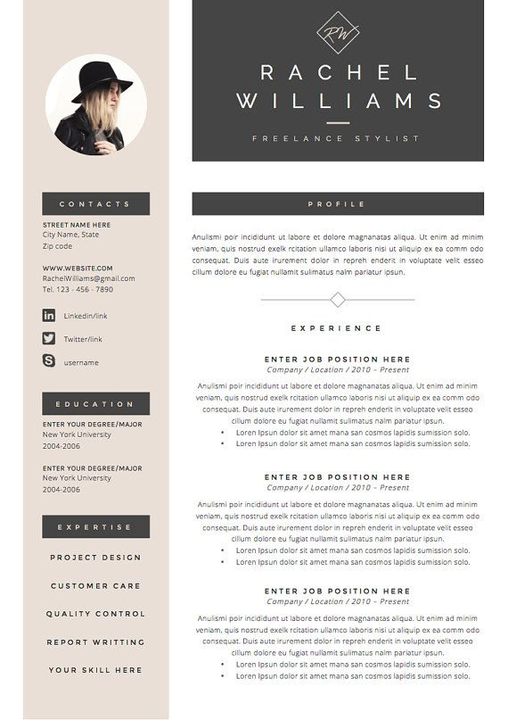 4 page Resume / CV Template + Cover Letter for MS Word Instant - sample application cover letter template
