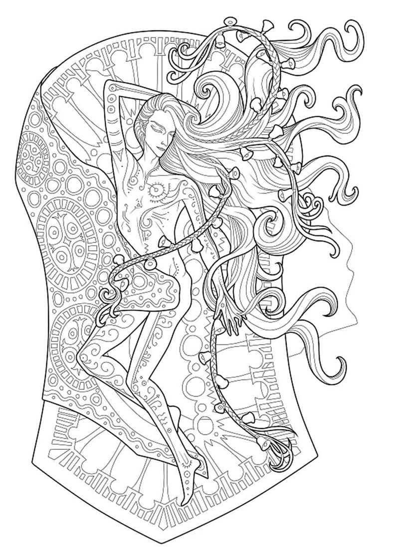 Coloring Page Romantic Dark Fantasy Black And White A Etsy In 2020 Coloring Pages Mandala Coloring Pages Digital Art Prints