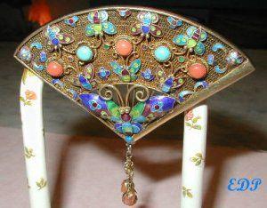 Chinese Enamel FAN Pin Filigree Butterfly Gemstones $375.00