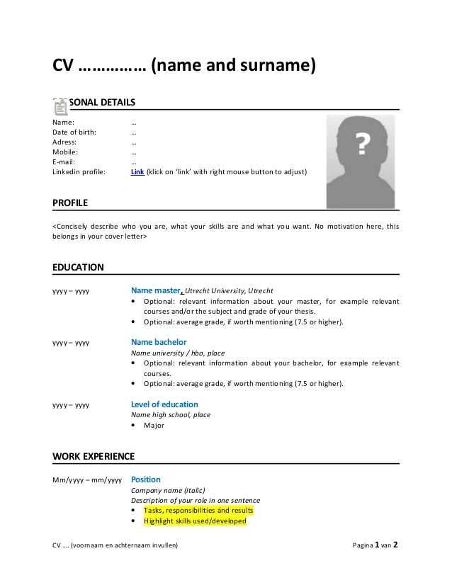 Cv Name And Surname Personal Details Name Date Of Birth Adress Mobile E Mail Linkedin Profile Cv Template Cv Format Job Resume Template