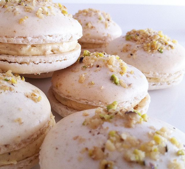 Baklava Macarons - walnut & almond shells filled with honey, walnut and cinnamon spiced buttercream!