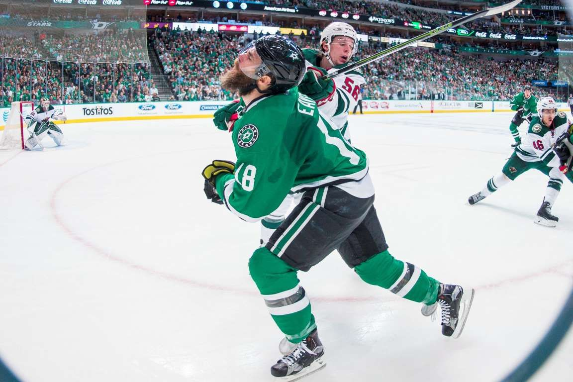 pretty nice ed9fe 7a20a High stick: Dallas Stars right wing Patrick Eaves (18) is ...