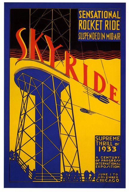 vintage poster Skyride amusement park ride at Chicago Exhibition 1933.   OldBrochures.com