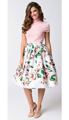 Unique Vintage White   Pink Rose Print High Waist Swing Skirt ... c772b0533