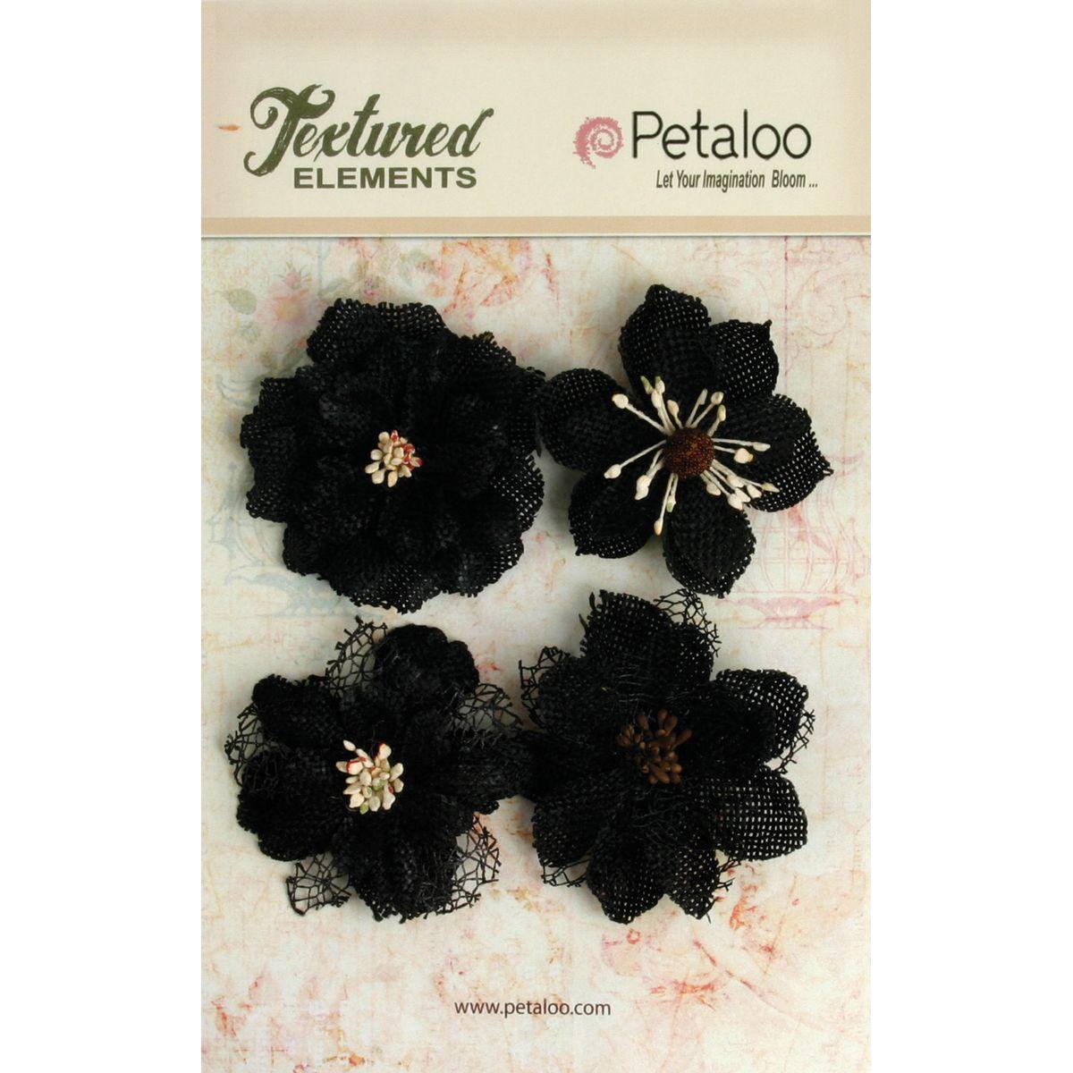 Petaloo Textured Elements Burlap Blossoms 4/Pkg-