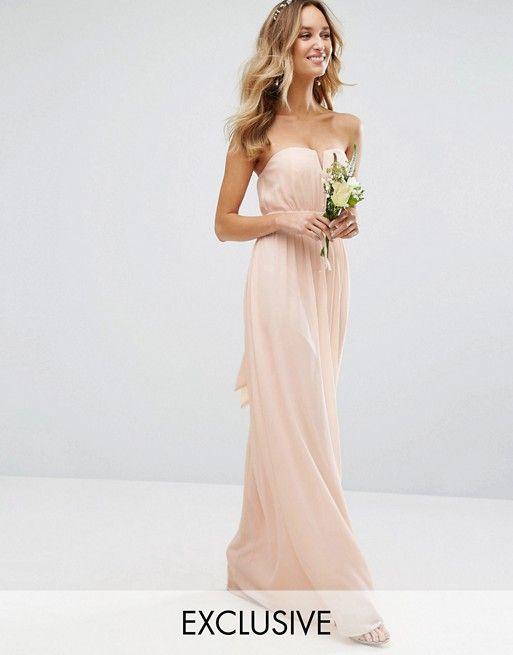 TFNC WEDDING – Trägerloses Maxikleid   Brautfrisur