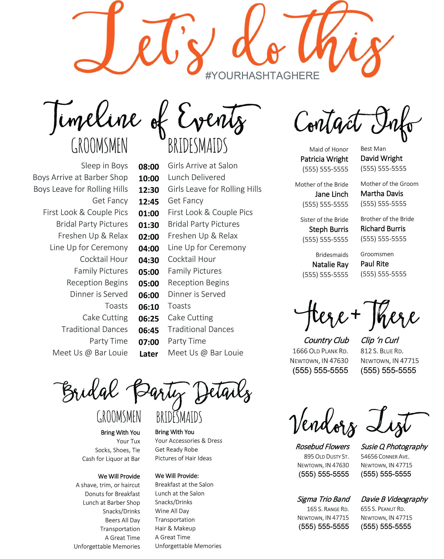 Editable Wedding Timeline