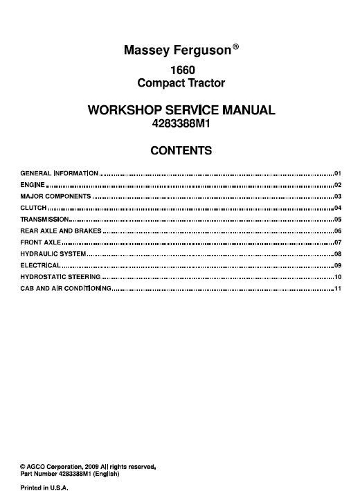 Massey Ferguson 1660 Tractor Service Workshop Manual With Images