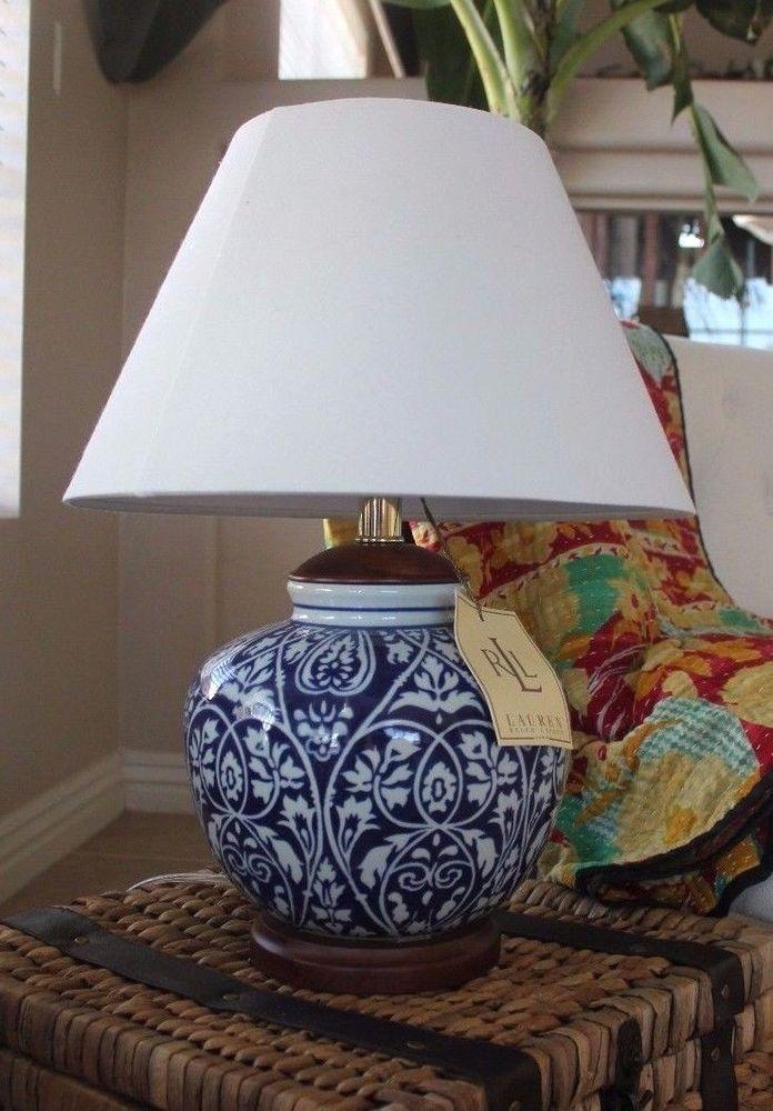 NWT Ralph Lauren Home Ginger Jar Blue White Table Lamp Signed Shade  Porcelain