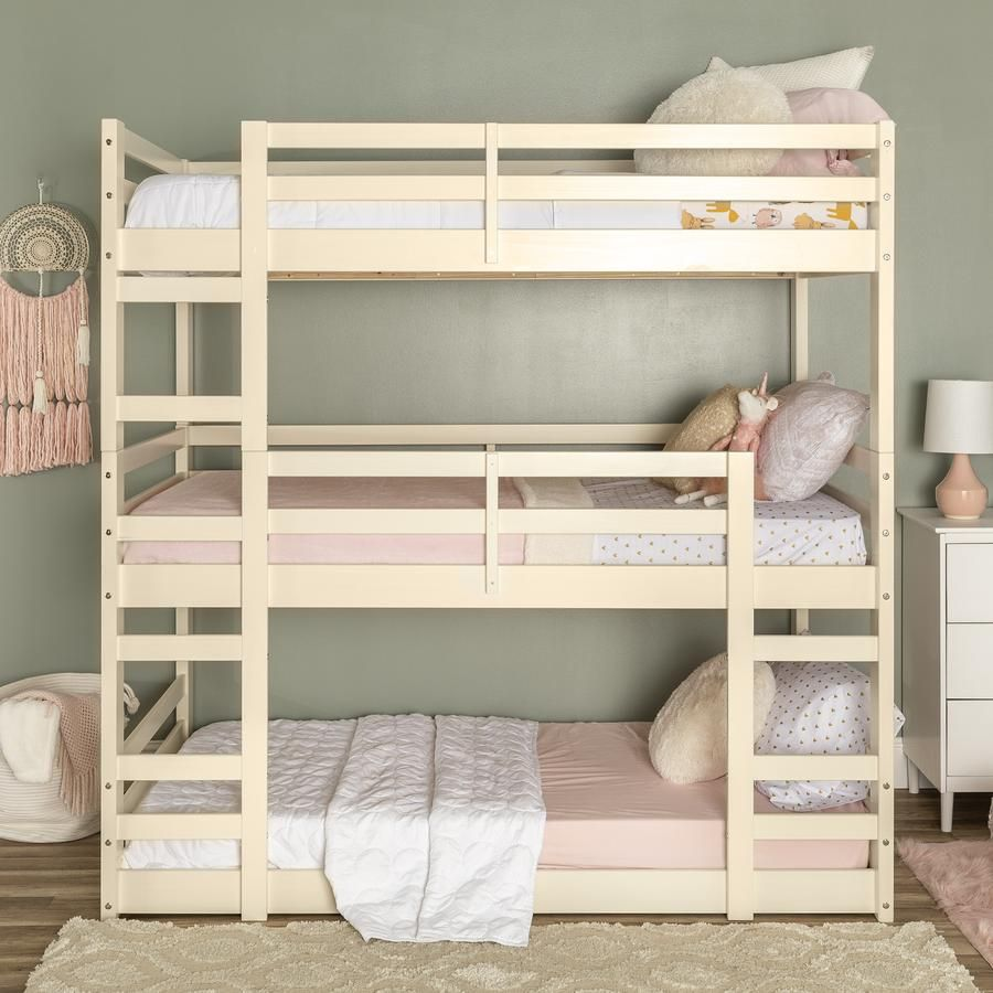 3 Popular Types Of Triple Bunk Beds With Cool Features Rustic