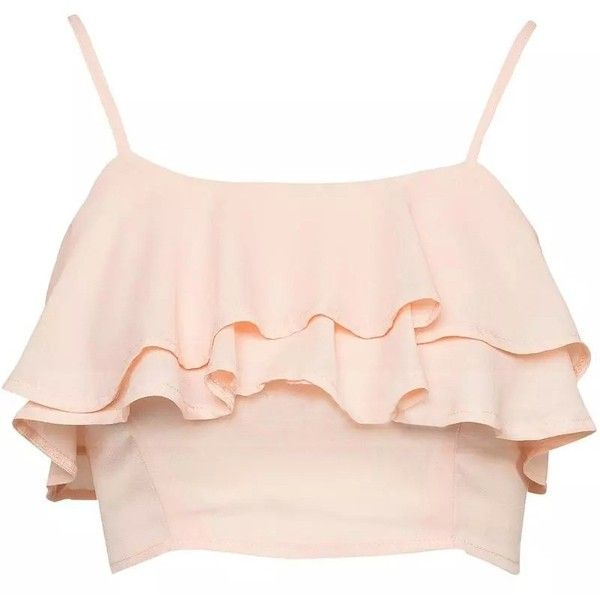LUCLUC Strappy Frilled Pleated Chiffon Crop Tops ($17) ❤ liked on Polyvore featuring tops, crop tops, shirts, lucluc, pink top, crop shirt, chiffon crop top, pink ruffle shirt and flutter-sleeve top