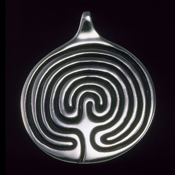 Labyrinth Pendant Necklace Sterling Silver Symbolic Jewelry