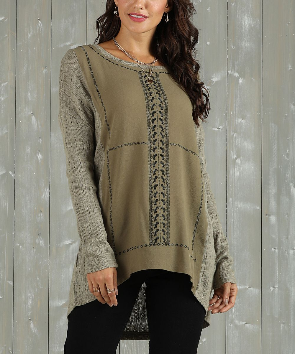 6348a21a9bd0f Suzanne Betro Weekend Olive Embroidered-Front Pointelle Tunic - Women &  Plus | zulily