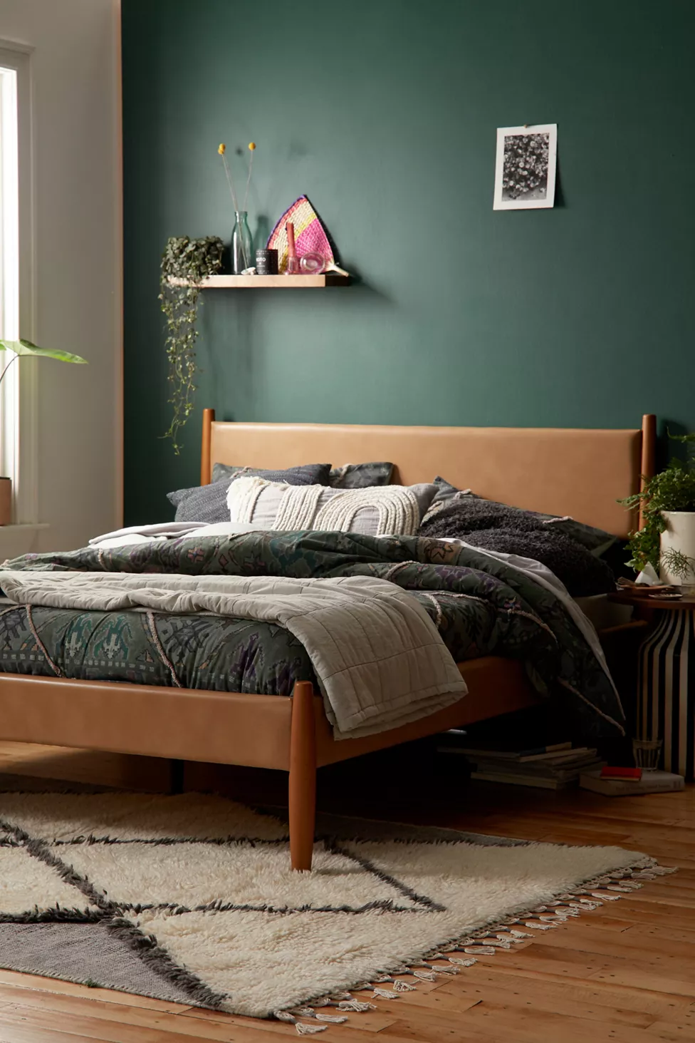 Huxley Recycled Leather Bed in 2020 | Green bedroom walls ...