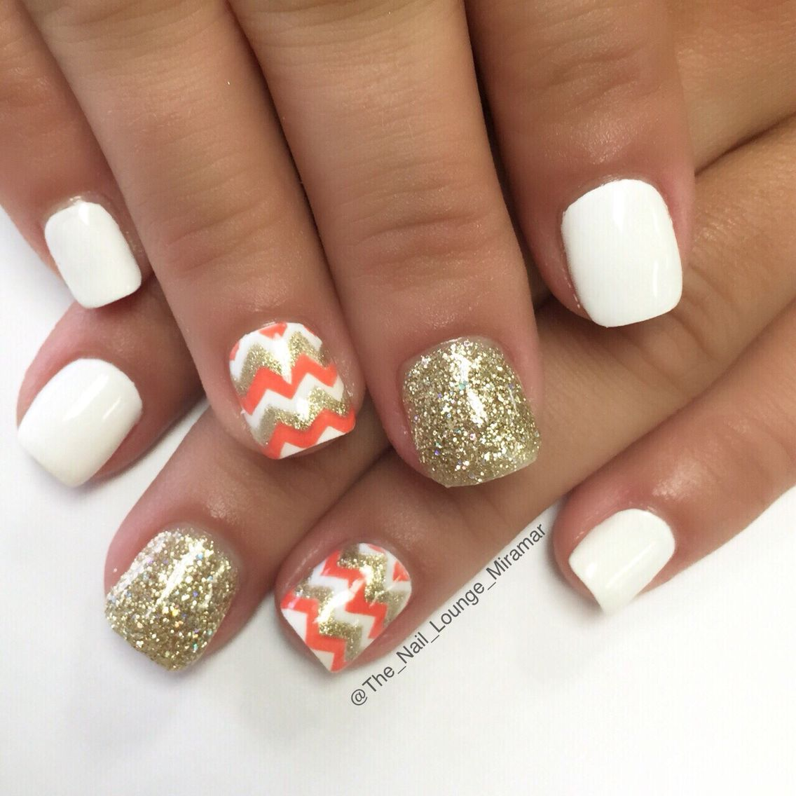 White gold orange chevron gel nail art design | Nail Art | Pinterest ...