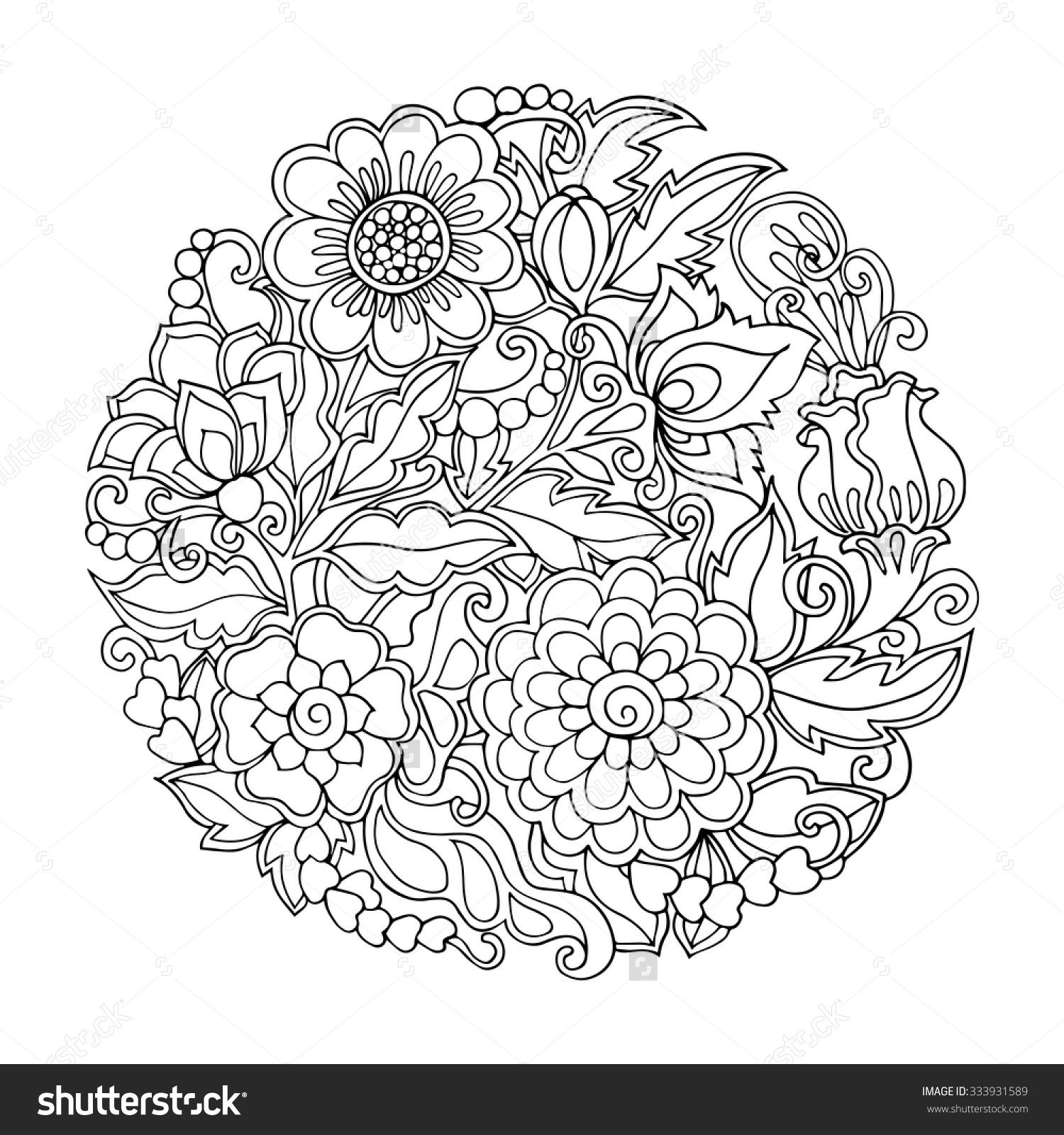 stock vector coloring book for adult and older - Chrysanthemum Book Coloring Pages