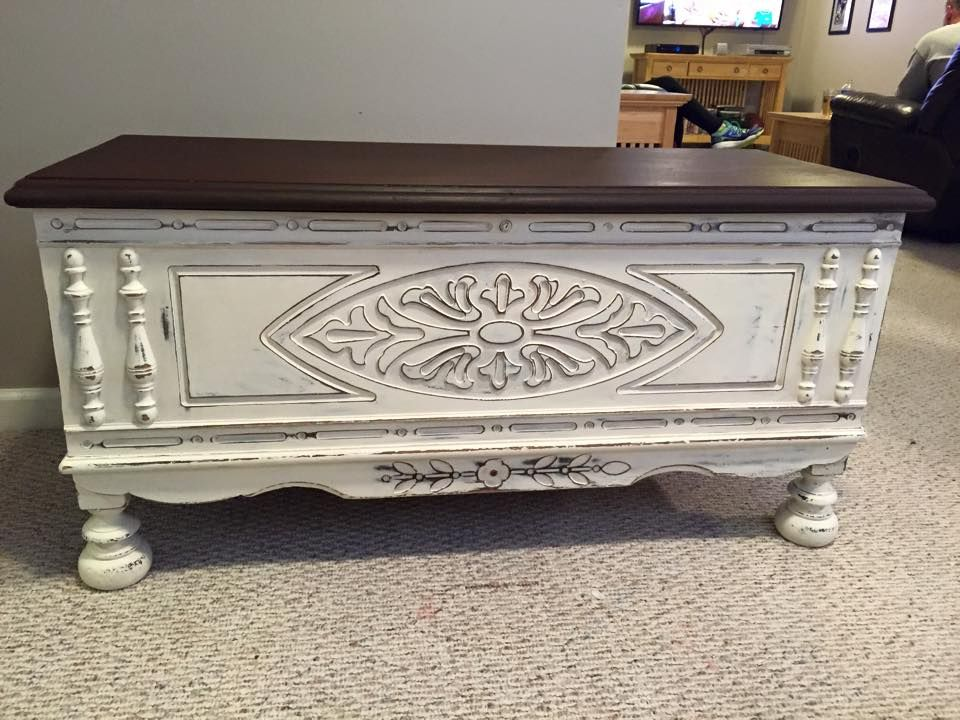 Lane Cedar Chest Painted In Old White And Distressed Top Stained With Walnut