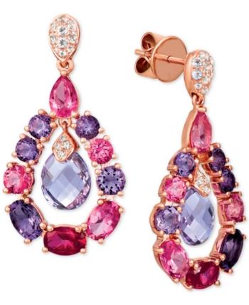 8cda29cbb t.w.) & Diamond Accent Orbital Drop Earrings in 14k Rose Gold - Multi