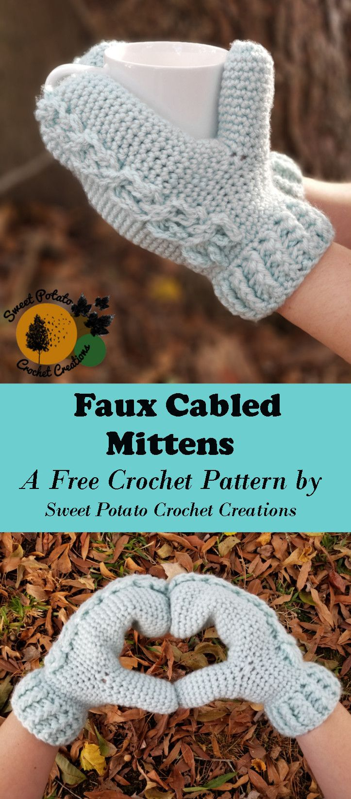 Crochet Mitten Drive-Faux Cabled Mittens