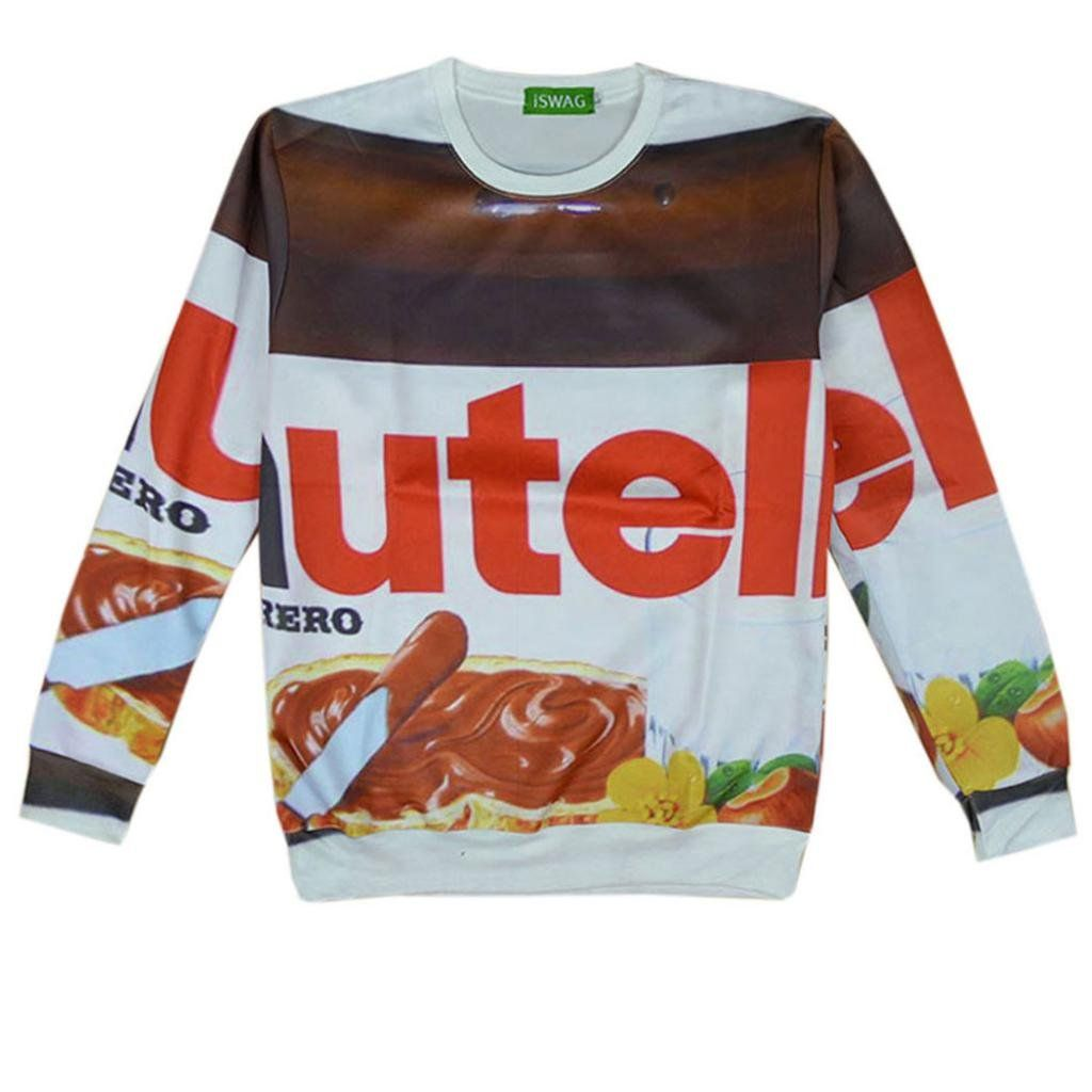 Stylish Unisex Hipster 3d Nutella food chocolate hoodies Sweatshirt T Shirts (S)