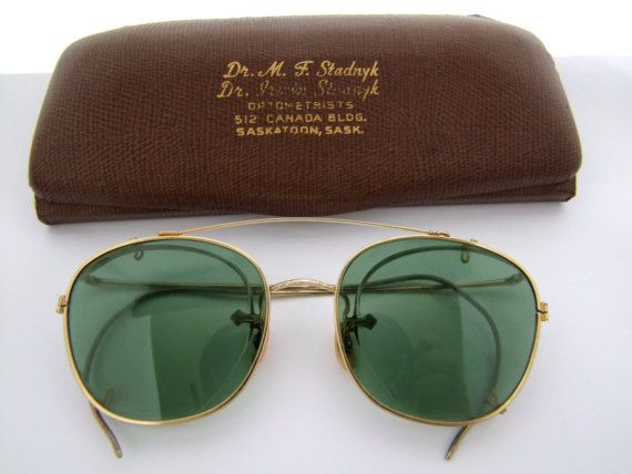 424da47459001 Rare Antique 1920 s   1930s Crown stamp GOLD FILLED Eyeglasses With Clip On  Sunglasses
