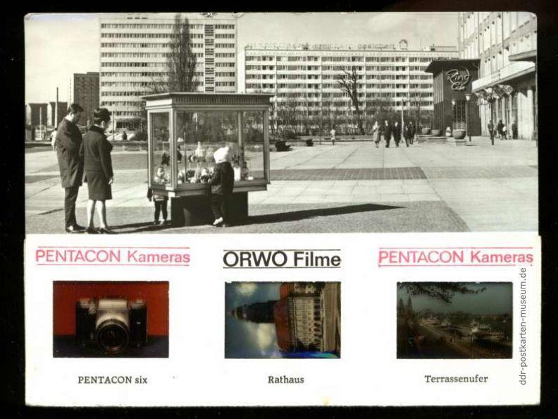 Werbekarte mit Farbdias und Werbung für ORWO-Filme und Pentacon ...