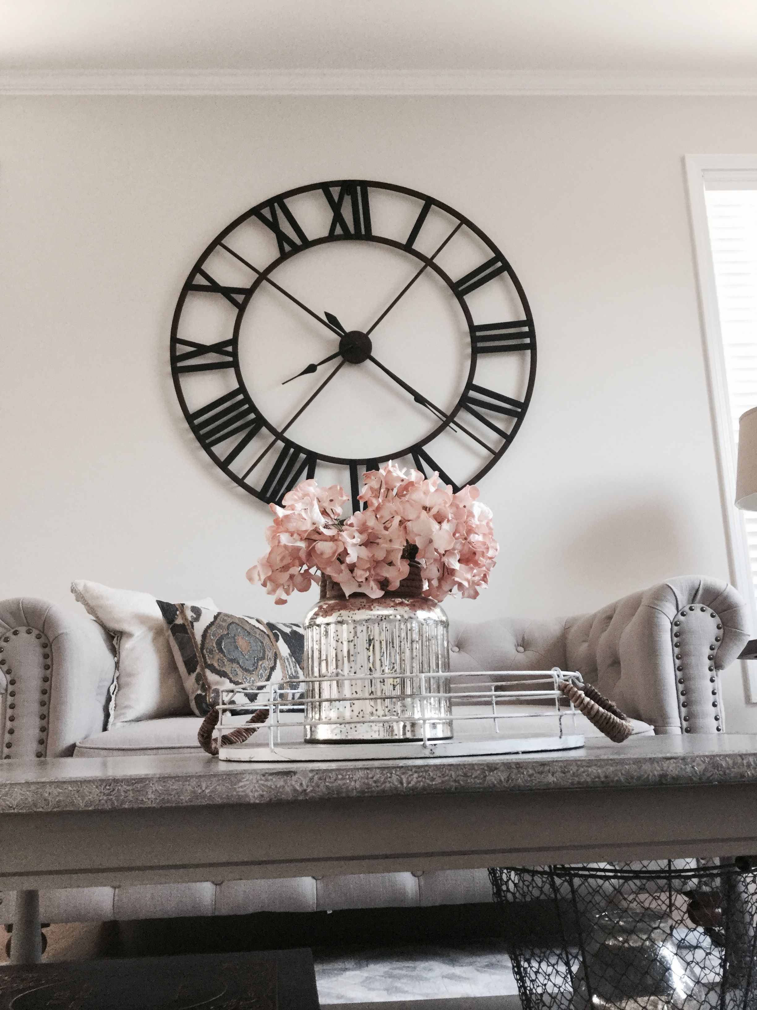 Details : Thelilliebag.com |decorating Ideas, Living Room Decor . Rustic  Decor Meets Glam, Oversized Clock , Tufted Sofa , Gray And Blush Decor.