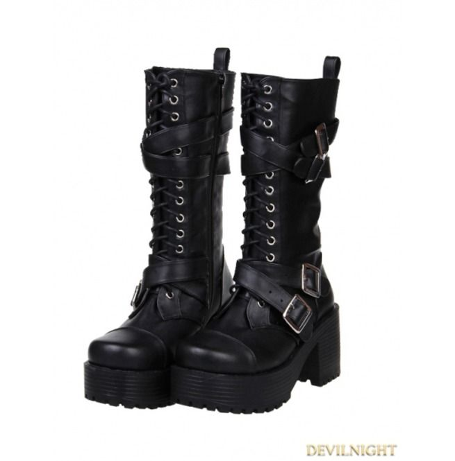 de640b5229a Rebelsmarket black gothic punk buckle belt lace up pu leather chunky heel  boots 7002 boots 4