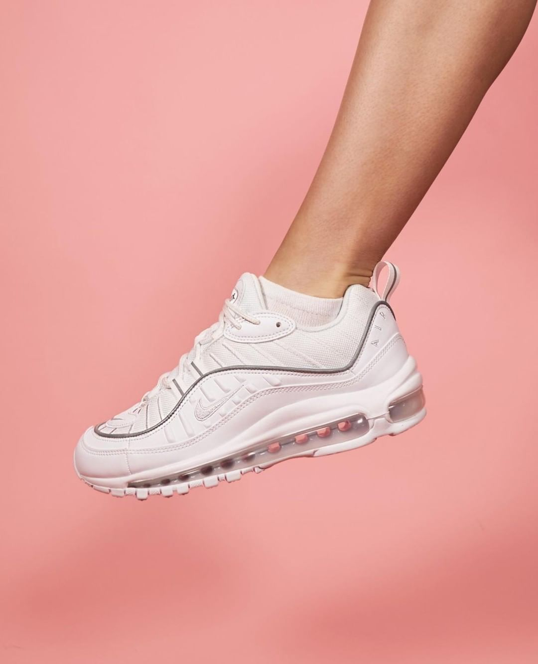 This Air Max 98 Is The Cleanest Yet Do You Know Someone Who Loves White Sneakers Stay Tuned To The Sole Womens For White Sneaker Sneakers Stylish Sneakers