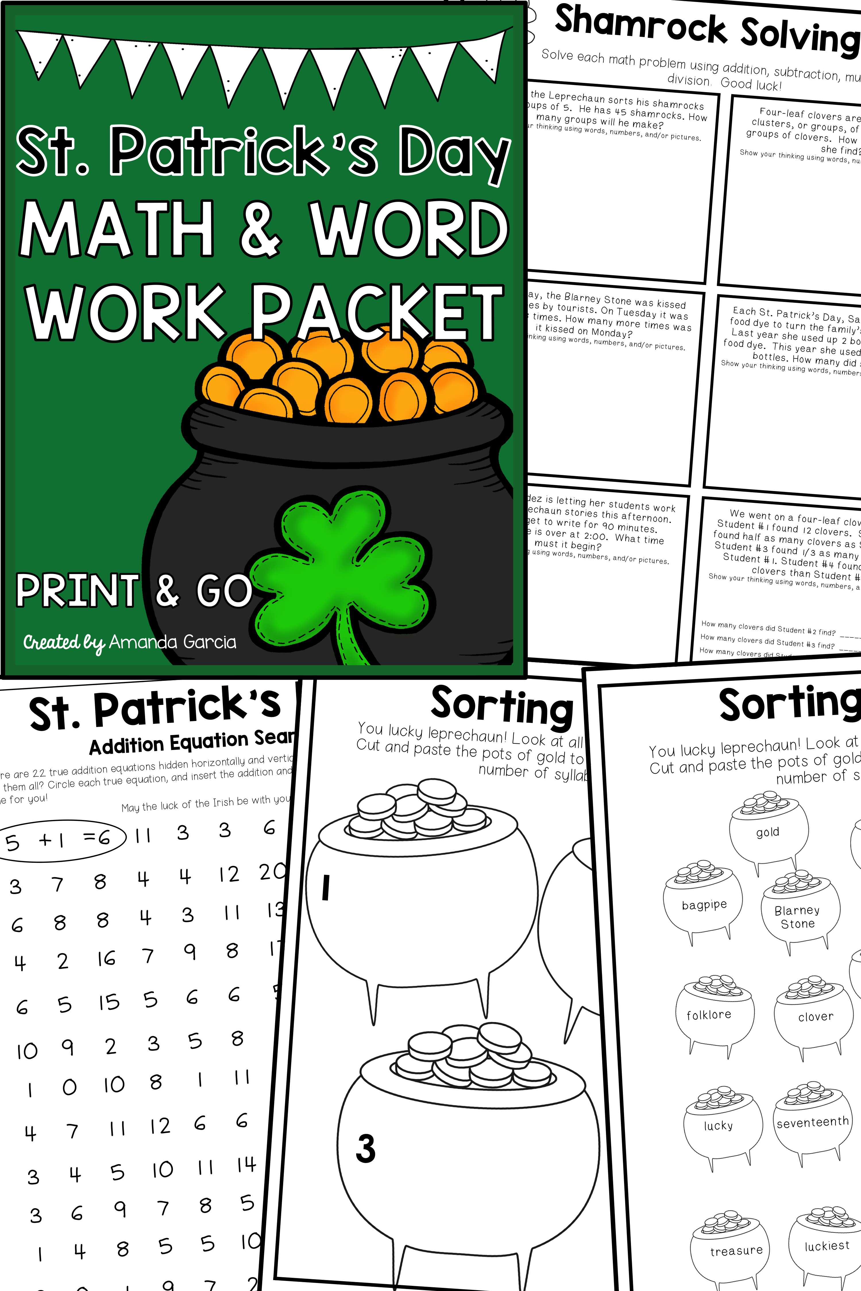 St Patrick S Day Math Packet