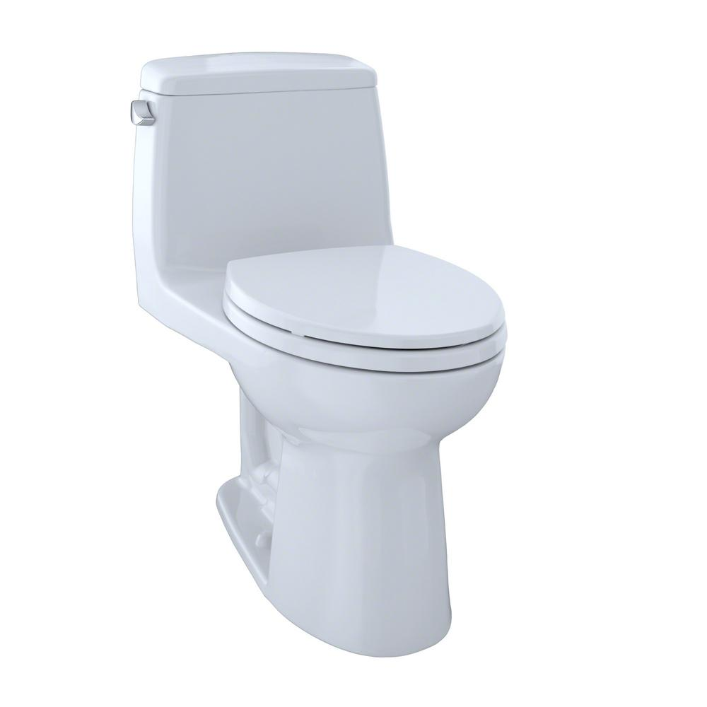 Toto Ultramax 1 Piece 1 6 Gpf Single Flush Elongated Toilet With Cefiontect In Cotton White Seat Included Ms854114sg 01 Toto Toilet One Piece Toilets Ada Toilet