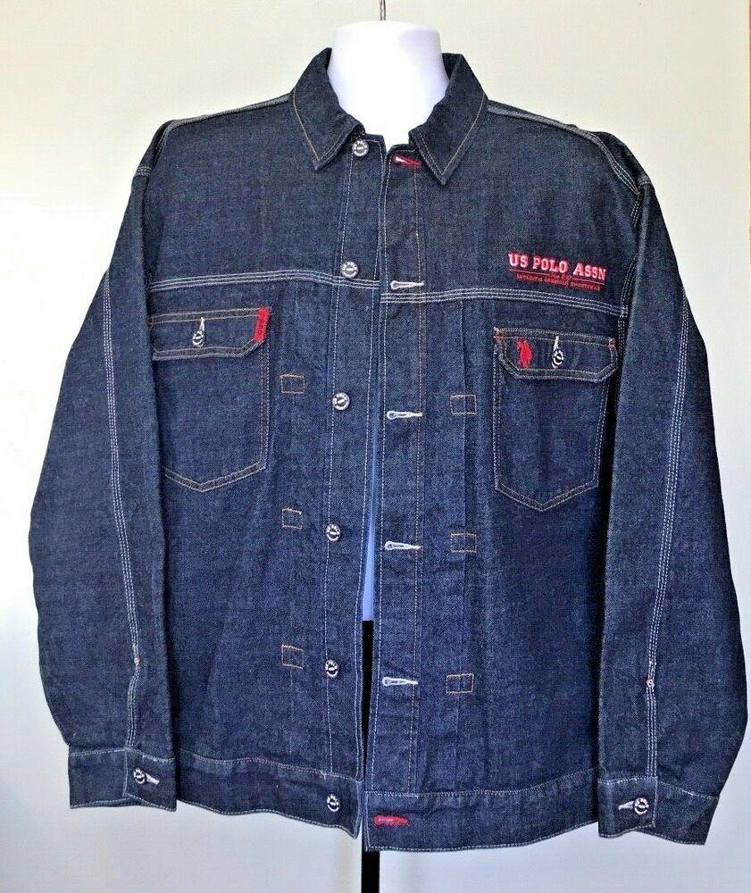 83915fea6d US POLO Assn Jean Jacket Blue Denim Trucker Retro Hip-Hop Retro Fashion  Mens XL #USPoloAssn #JeanJacket