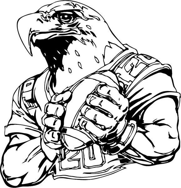 Eagle football mascot sports vinyl decal. Customize on