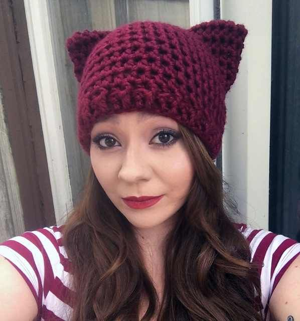 9dcc1434c57 Here is a selection of 6 lovely free crochet patterns for cat hats with ears  to choose from so you can make your own adorable cozy little pussyhat.