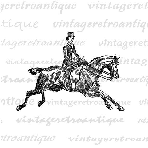 Lady Riding Horse Digital Graphic Image von VintageRetroAntique