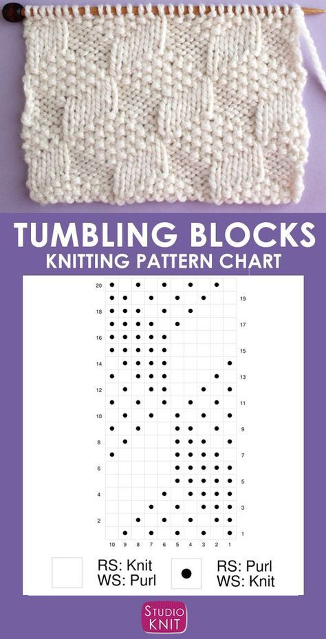 Photo of This Tumbling Moss Block Stitch knitting pattern creates an illusion with 3 different …