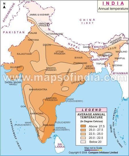 India Temperature Map Annual Temperature Map of India | My India | India map, India