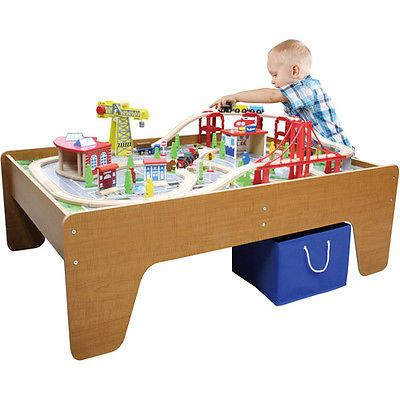 NEW Large Wooden Train Set Table NIB Activity Center for Thomas Brio Chuggington  sc 1 st  Pinterest & Fossil Machine 3-Hand Date Leather Watch | Train set table Wooden ...