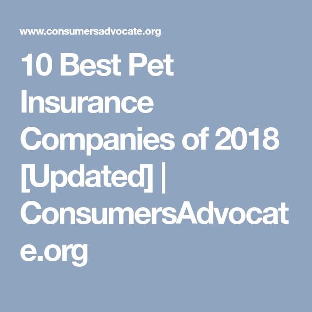 10 Best Pet Insurance Companies Of 2018 Updated Consumersadvocate Org Pet Insurance Best Pet Insurance Insurance