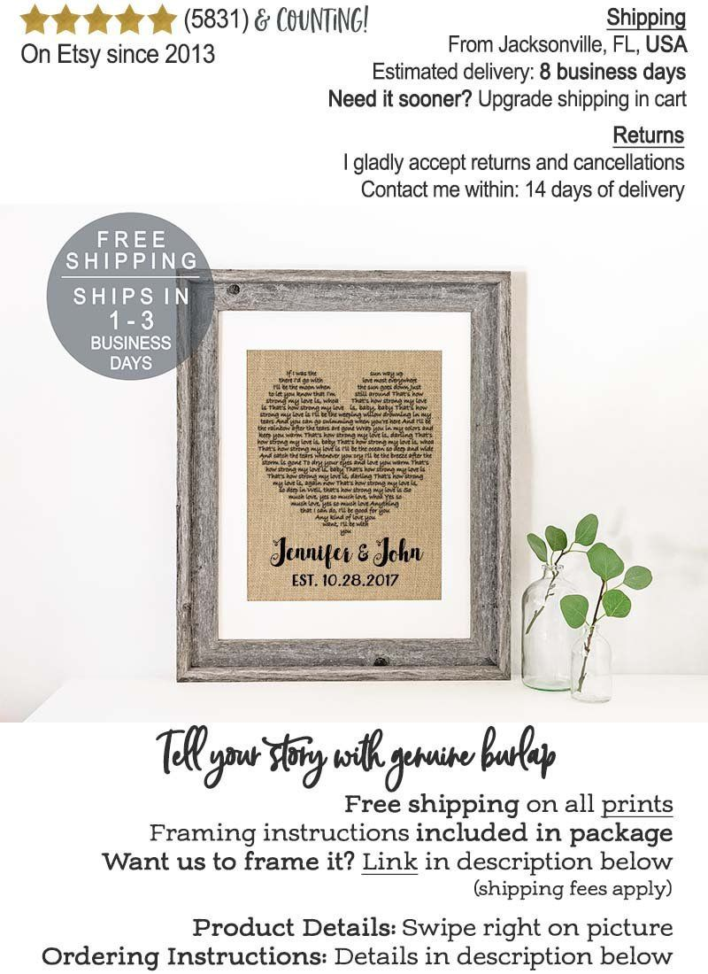 Real Burlap, First Dance Song Lyrics Wedding Gift for Bride ...