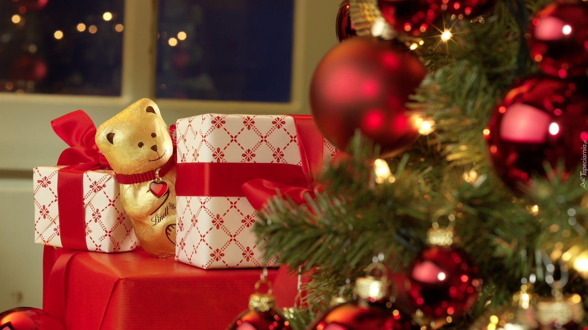 Boże Narodzenie, Choinka, Prezenty, Czekoladowy, Miś