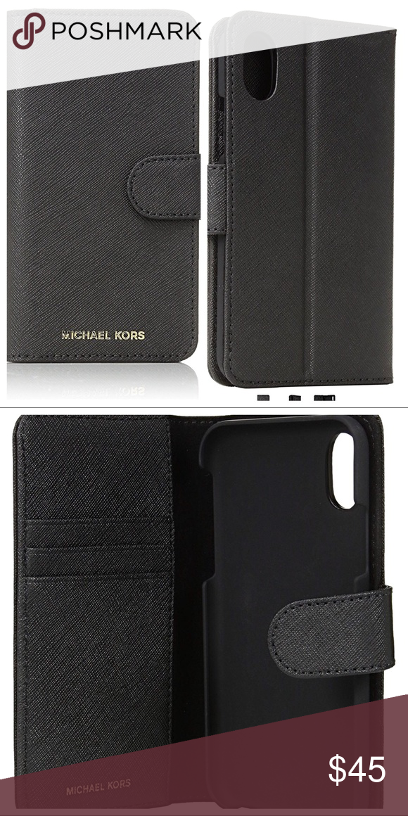 fc60a893a5b485 MICHAEL KORS LEATHER FOLIO WALLET IPHONE X CASE Saffiano leather. Magnetic  closure. 3 interior