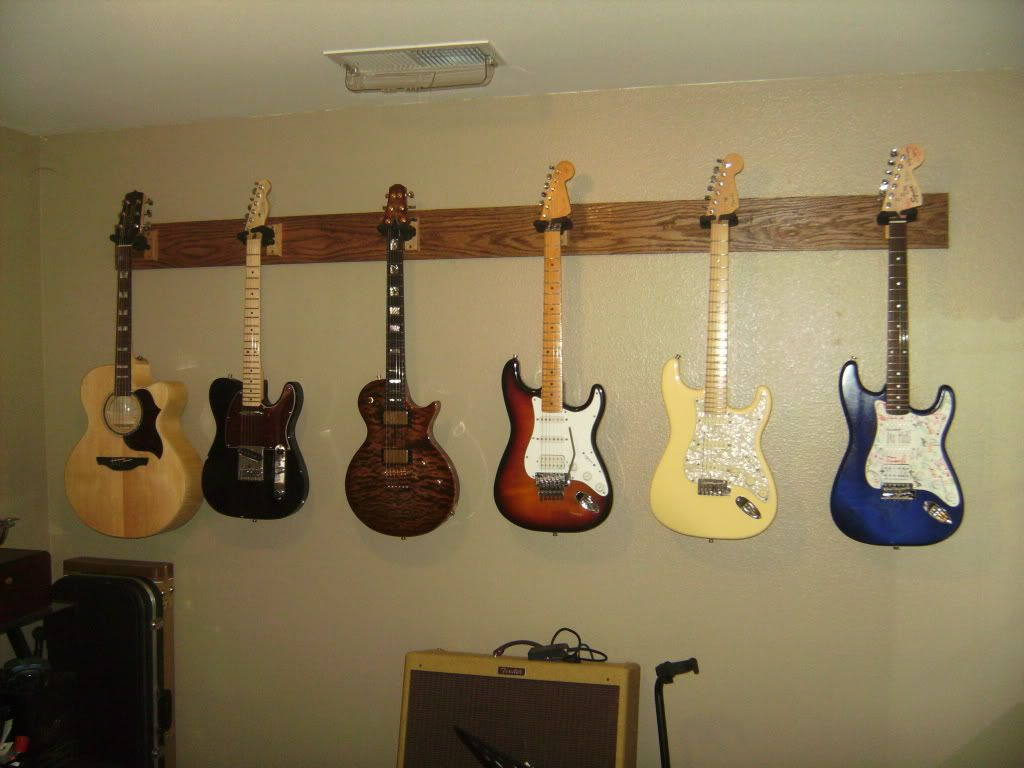 hanging guitars on drywall ideas for the. Black Bedroom Furniture Sets. Home Design Ideas